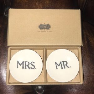 NWT Mudpie Mr. and Mrs. ring dishes